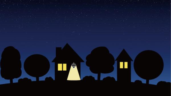 夜の家に灯るライトのイラスト